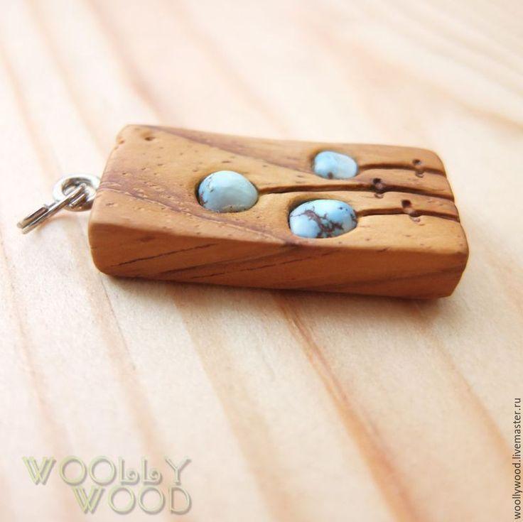 Wooden pendant with turquoise – buy or order … – #order # wooden accessories …   – Diy und Selbermachen Schmuck