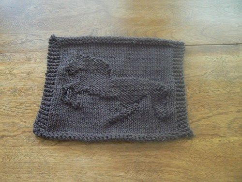 Hand Knit Dark Taupe Bucking Bronco Picture Dishcloth or Washcloth | hollyknittercreations - Knitting on ArtFire