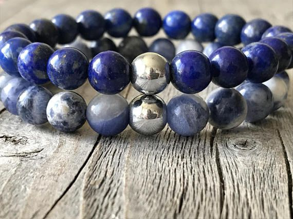 Half edelsteen dames armband blauwe armbanden set stretch