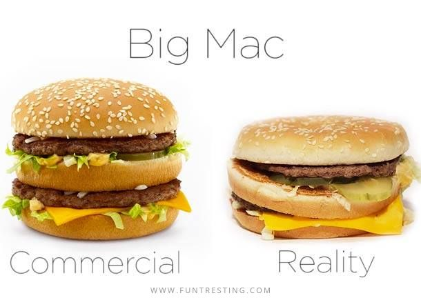 Big Mac Commercial Vs Reality - Funtresting