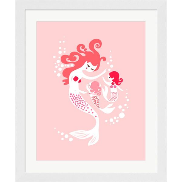 Evive Designs Mermaid and Twin Daughter in Pink Framed Art By Jeanie... found on Polyvore