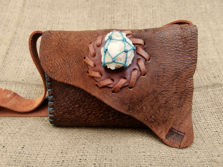 Handmade Woodland Boho Hippie Unisex Festival Shoulder Sling Pouch Bag with Raw Snow Quartz Crystal made from Upcycled Deerskin Leather by WadadaAfrica on Etsy