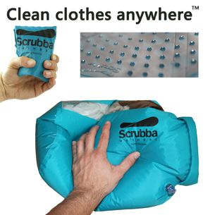 Great idea - a dry bag that has a flexible washboard inside, to wash clothes with. Super for camping and travel.