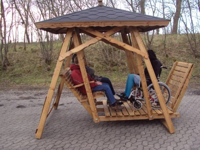 Wooden Wheelchair Accessible Glider Swing Accessible