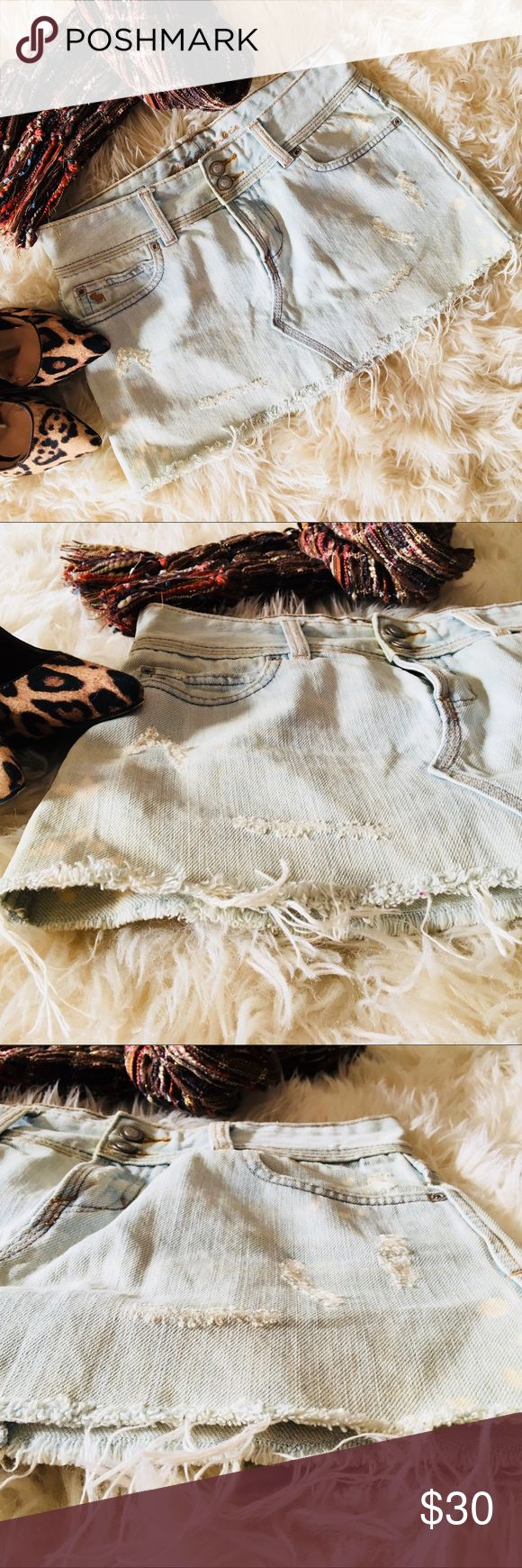"""Abercrombie ❦ Stonewashed Distressed Denim Skirt Stonewashed distressed stretch denim skirt by Abercrombie & Fitch. (White/bleached spots are part of the design and aren't a defect.) Part of a set with matching denim jacket. Looks great with anything white or spice it up with animal print pumps! Also looks awesome with brown boots! Rarely worn. Perfect condition.  ❦ Length: 10.5"""" ❦ Waist: 14"""" across ❦ 100% Cotton ❦ Machine wash cold Abercrombie & Fitch Skirts Mini"""