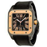 Cartier Santos 100 Black Steel Rose Gold Watch W2020009