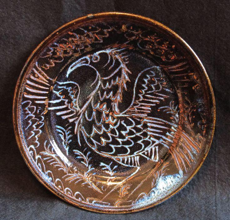 Bird plate, sgraffitto tenmoku ash glaze