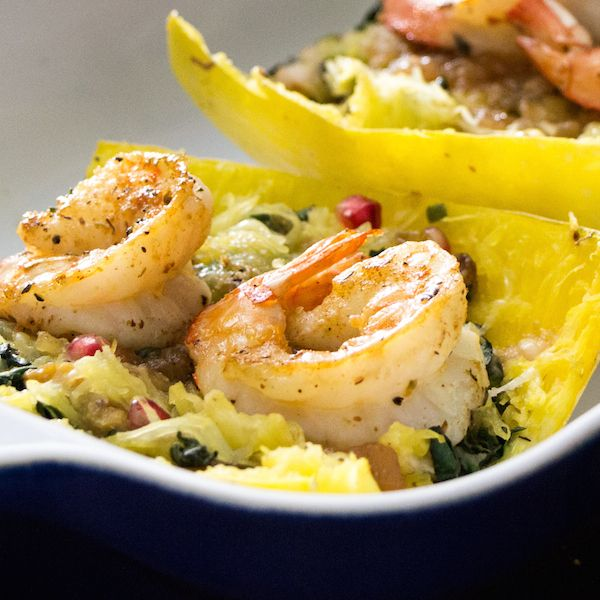 spaghetti squash with shrimp with mods for paleo