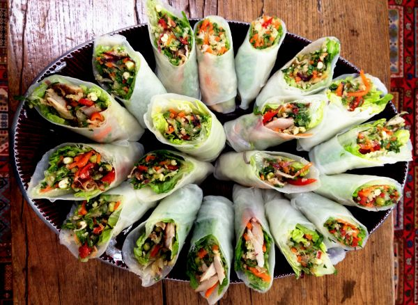 Vegetable And Spiced Chicken Filled Vietnamese Rice Paper Rolls