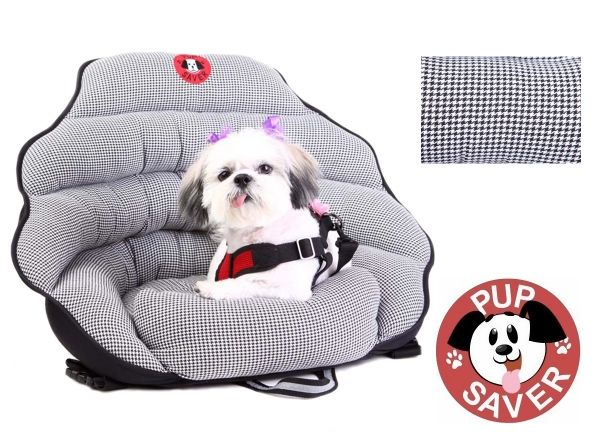 Crates and simple car seat belts cannot offer protection and safety in a car like the PupSaver Car Seat can! The PupSaver is a small dog car safety seat, created for small breed dogs in need of a safe seat for car rides. Harnesses, crates and booster seats are not the safest options for small dogs, since they offer no impact protection in case of accidents or short stops. The PupSaver offers full protection without complete restraint. It protects dogs up to 30 lbs and easily hooks up in…