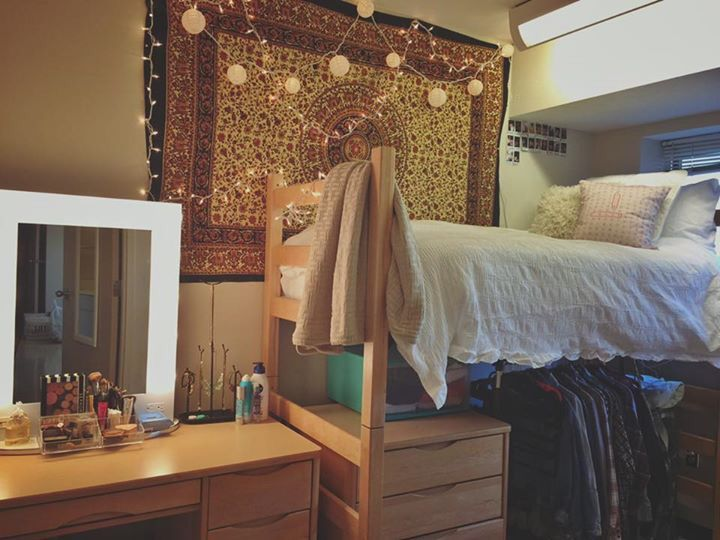 Our daughters new college dorm at University of Kansas! #ku #dorm #design…