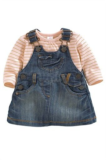 Newborn Clothing - Baby Clothes and Infantwear - Next Denim Pinafore Set - EziBuy Australia