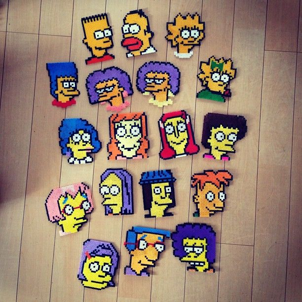 The Simpsons characters perler beads by reoman