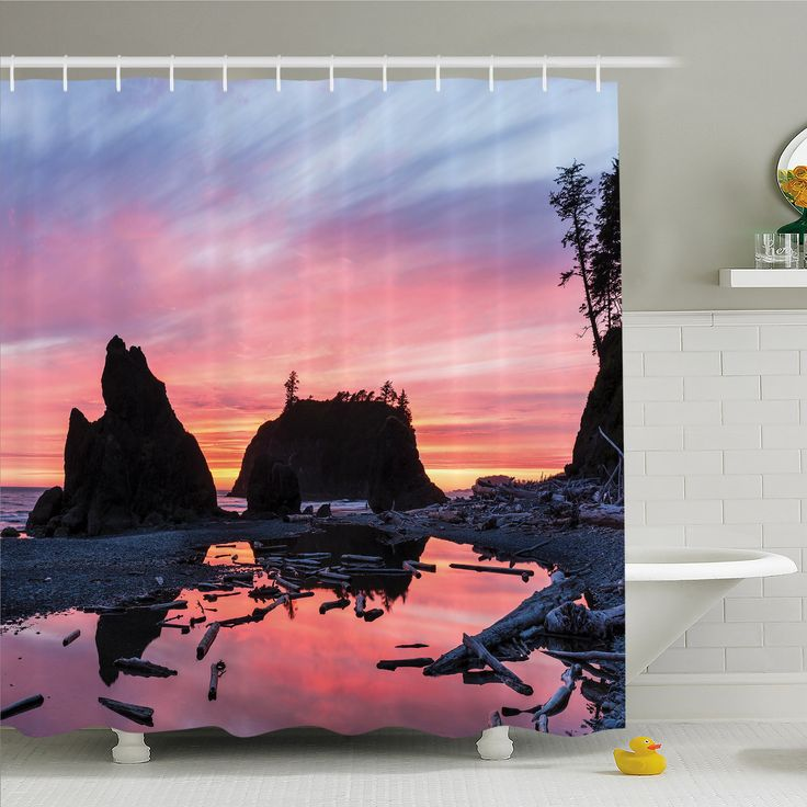 National Parks Home Sunrise in a Slow Moving Stream Pinky Soft Mist Skyline Mystic Beach Shower Curtain Set