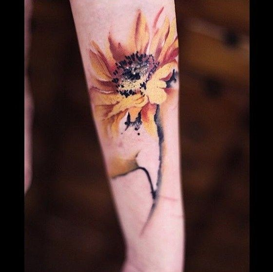 Sunflower Watercolor Tattoo.                                                                                                                                                                                 More