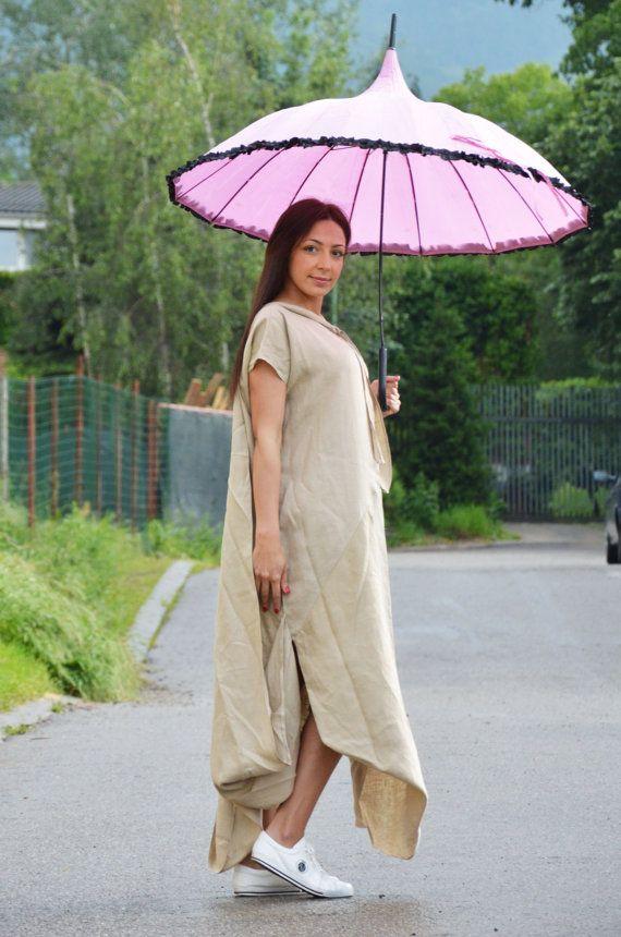 Linen Beige Maxi Dress Asymmetrical Sexy Kaftan Tunic Dress