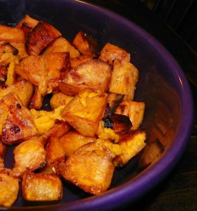 Using virgin coconut oil in this recipe enhances the flavor of the sweet potatoes, while infusing a subtle perfume of coconut to them.  Virgin coconut oil is found in most health food stores.  Adapted from Melissa Clark, NY Times.