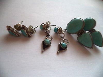 Lot-of-three-sets-of-turquoise-earrings-peirced-ears-pretty-vintage-earrings