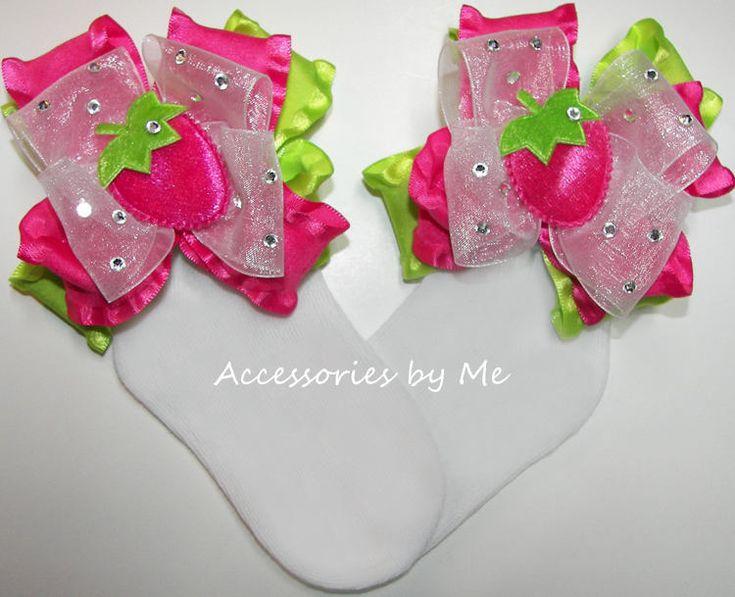 Strawberry Socks, Strawberry Shortcake Bow Socks, Pink Strawberry Lime Green Bow Sock, Strawberry Toddler Pigtails, Baby Strawberry Headband