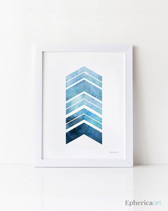 Navy Blue Art Print afdrukbare Wall Art Chevron door EphericaArt