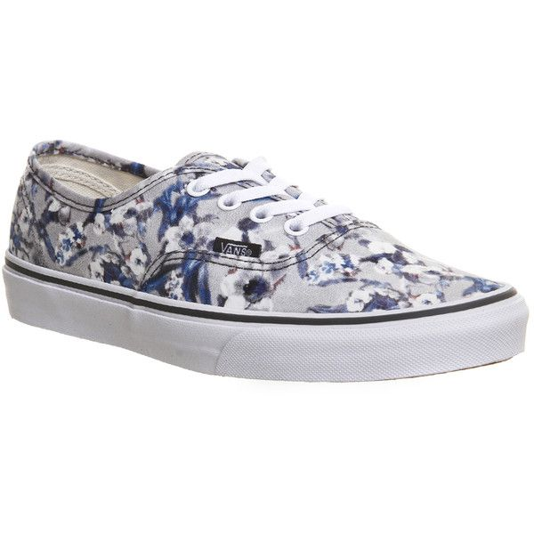 Vans Authentic ($74) ❤ liked on Polyvore featuring shoes, sneakers, pewter white blurred floral, trainers, unisex sports, vans sneakers, sport sneakers, white shoes, white trainers and flower print sneakers