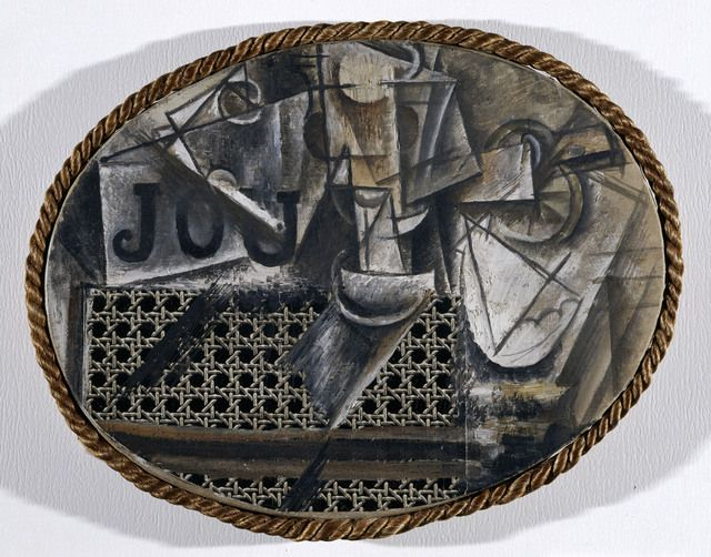 Still-life with Chair Caning, Spring 1912  Oil on oil-cloth over canvas edged with rope  112/5× 143/5in  29 × 37 cm  Réunion des Musées Nationaux / Art Resource, NY Photo: R.G. Ojeda / Picasso, Pablo (1881-1973) © ARS, NY