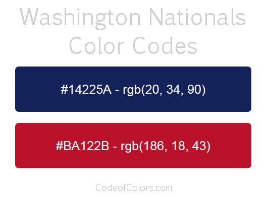 Washington Nationals Team Color Codes Mlb Team Colors Pinterest