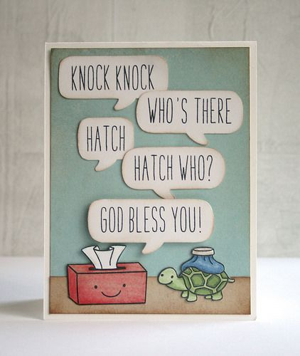 "Lawn Fawn - On the Mend, Milo's ABCs _ adorable ""knock, knock"" joke get well card by Miriam via Flickr"