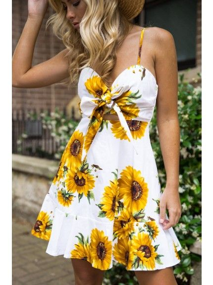 cef0b86c1f4 ODELL DRESS - White Sunflower Print