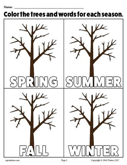 The 4 Seasons FREE Printable Coloring Page | Worksheets ...