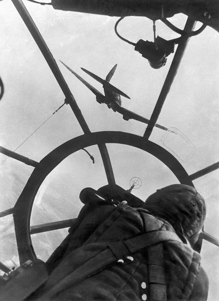 German air force bomber Heinkel He111 on mission. View from the cockpit, 1942.