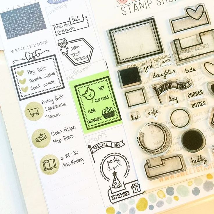 Planner page by designer Tiffany O'Grady using the Sweet Stamp Shop Icons, Basic Tabs and Plan Pet stamp sets