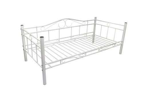 Tagesbett Einzelbett 90x200 Metallbett Metall Bett Bettgestell Bett Sofa weiß #S