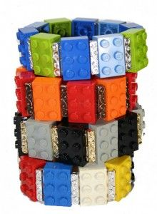 a little recycled lego plus Swarovski crystals combine for these bracelets