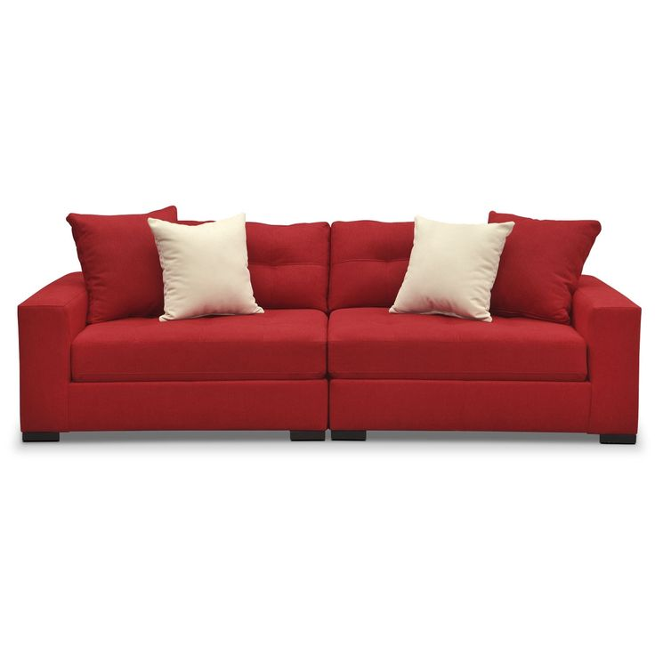 Handcrafted Design. Built for durability and versatility, the Venti Red two-piece sofa by Kroehler™ will round out your living room with looks and longevity. It's upholstered, tailored, and handcrafted by skilled craftsmen and is swathed in warm, vibrant cloth that feels luxurious against your skin. Extra details include tufting along all the attached seat and back cushions, each section comes with two back pillows and the wood block legs are almost invisible. Two-piece sofa includes left...