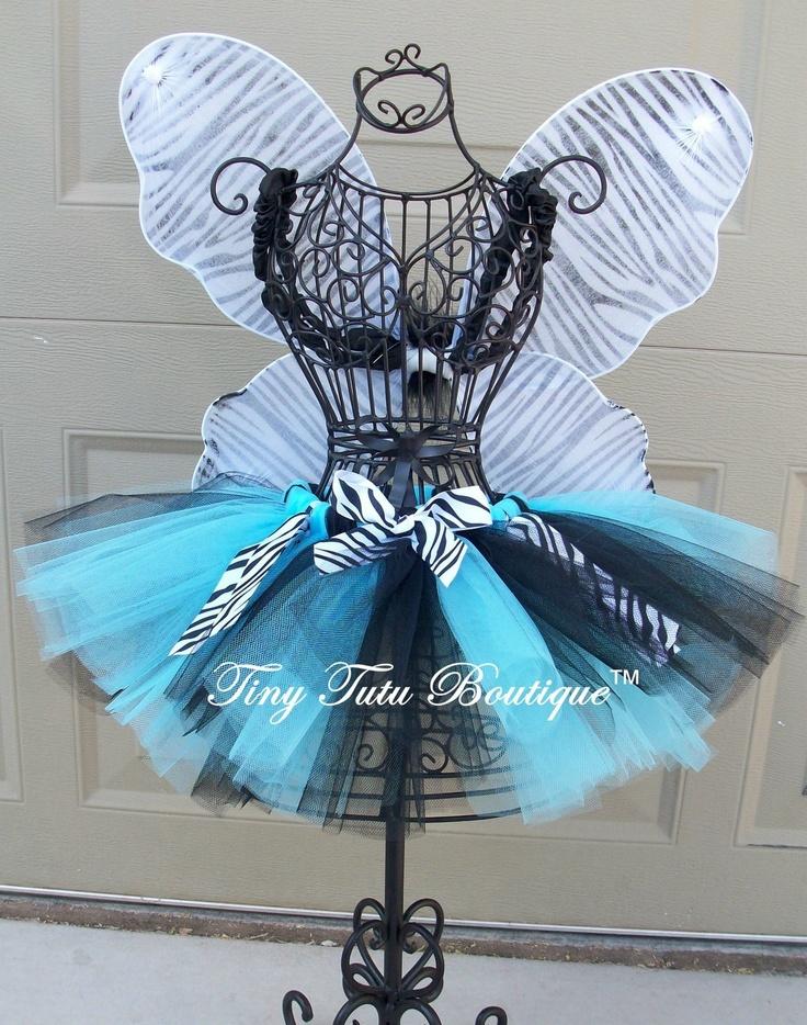 Wild Zebra Tutu/Hairbow Set, HotPink or Blue- 0-3mo, 3-6mo, 6-12mo, 12-24mo. $25.00, via Etsy.
