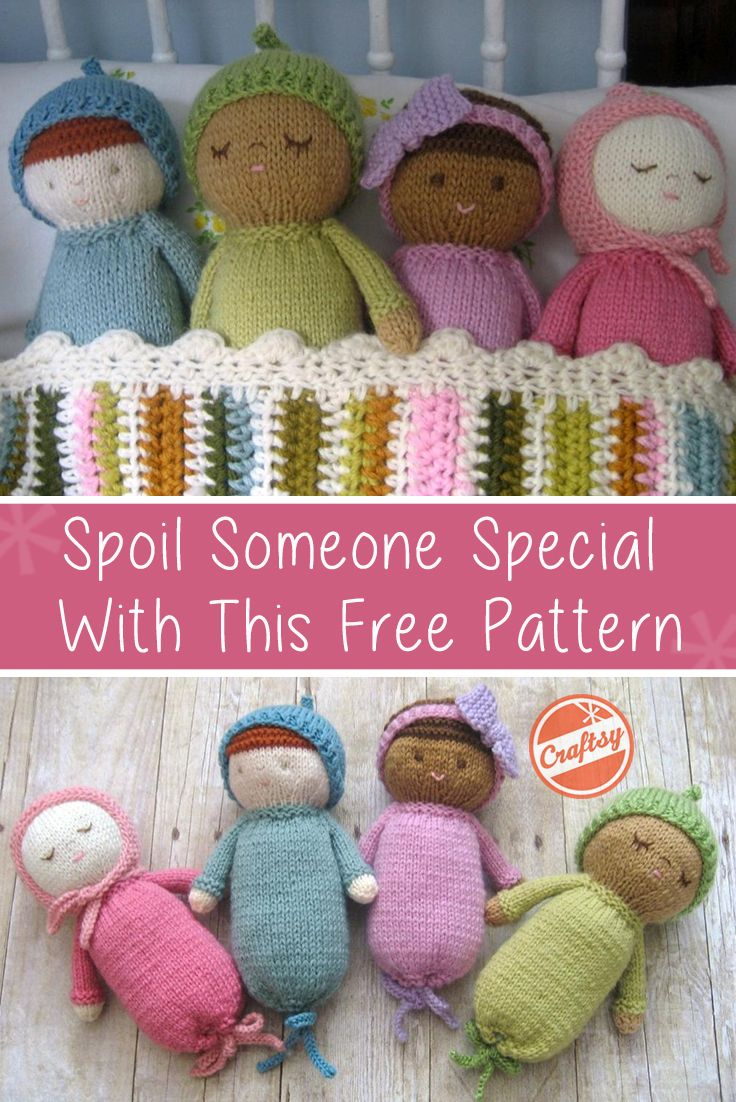 Knitting pattern! Here's the perfect toy to knit up for for a baby shower or Birthday. The pattern includes detailed instructions for knitting an original baby doll from start to finish.