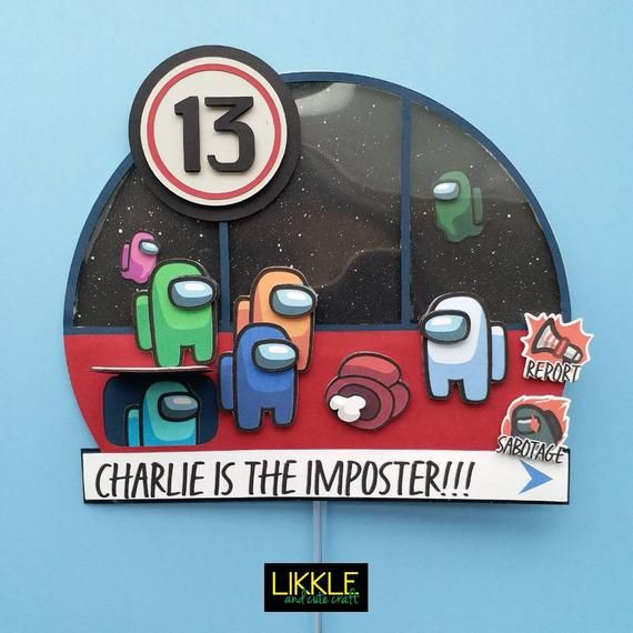 Among Us Game Cake Topper Imposter Innersloth Online Games Cake Decor Custom And Personalized Rainbow Colours Crewmates Space Themed Tema Espacial Juegos En Linea Decoracion De Pasteles