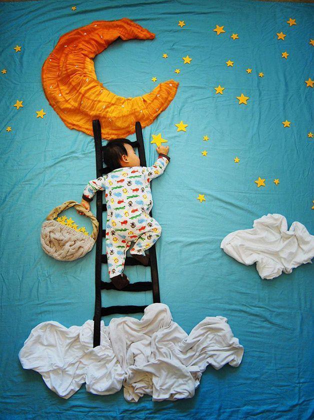 Madre creativa coloca a su hijo dormido en aventuras inimaginables - Marcianos