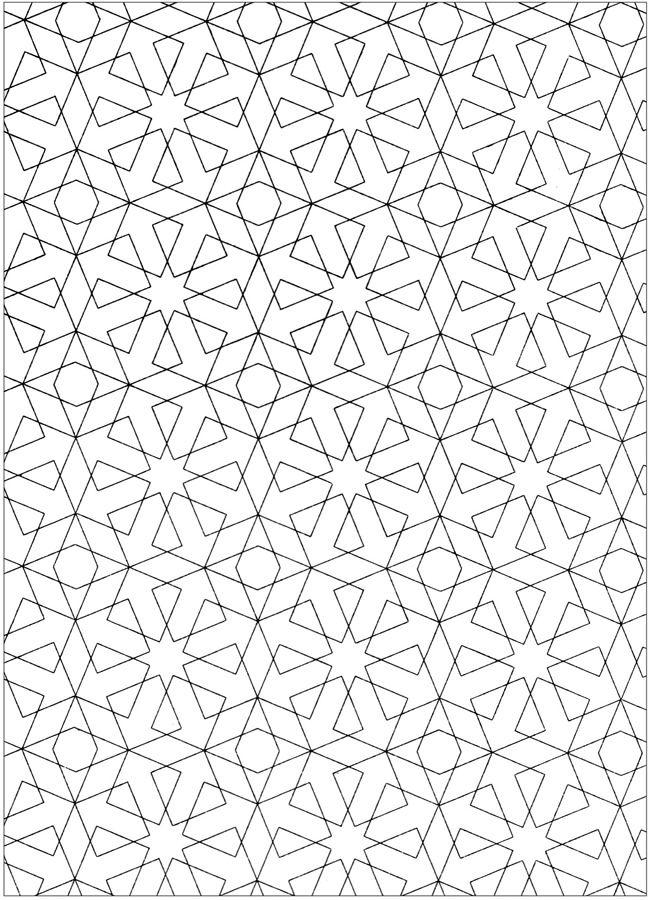 Kleurplaat - Vierkanten en sterren, kleuren mengen
