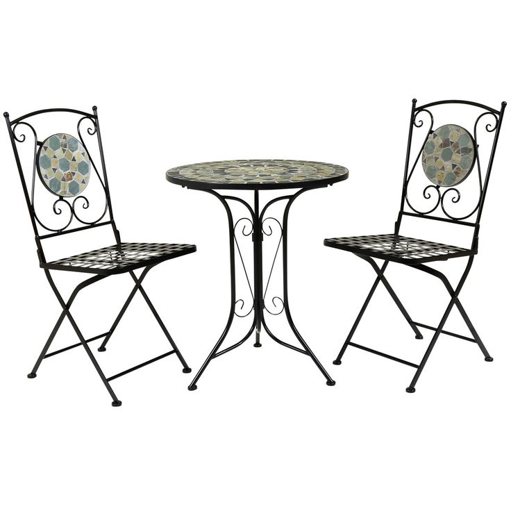 Blue Mosaic Garden Bistro Set Including Two Chairs And A Table. The Set Has  A