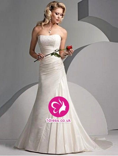 Trumpet/Mermaid Strapless Beading Sleeveless Chapel Train Satin Wedding Dresses for Brides (UK002168)