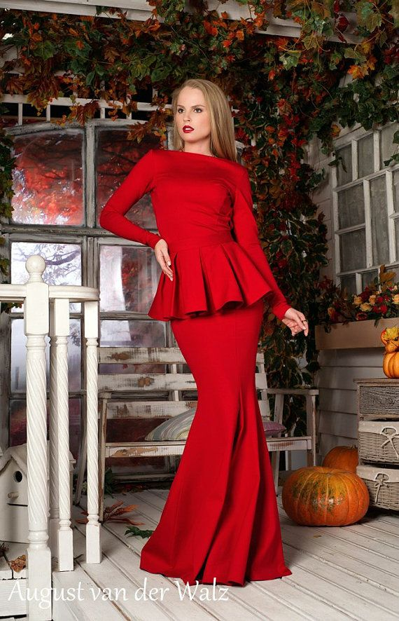 Autumn - Spring Red peplum Dress with long sleeve from my collection Smell of Spring * The peplum is removable in this dress * This dress
