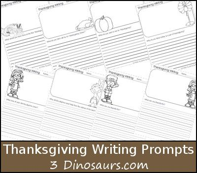 Free Thanksgiving Writing Prompts Printable - 3Dinosaurs.com