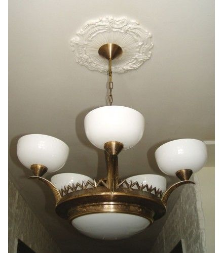 Art Deco antike Decken Lampe 5arm 7fl. MESSING orig. um 1920