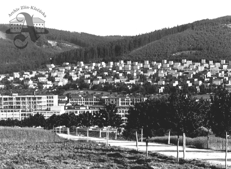 View across the factory towards the Letná district, 1936