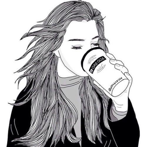 Image via We Heart It #blackandwhite #drawing #girl #grunge #outline #sketch