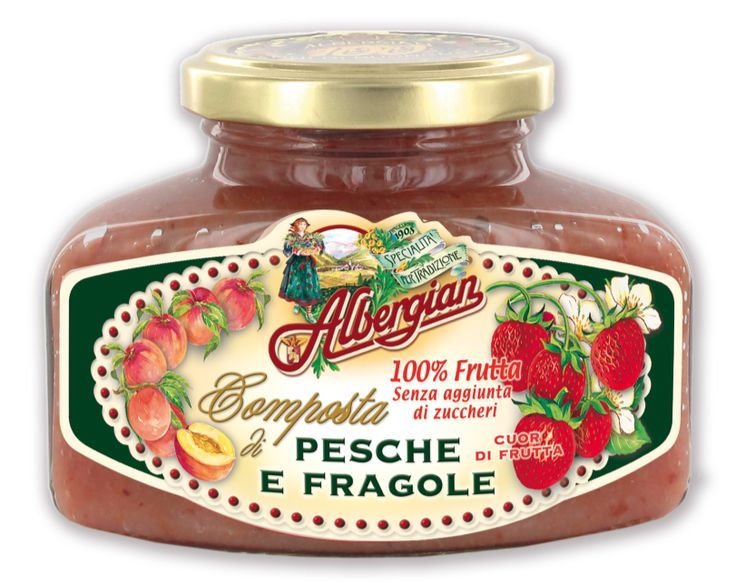 Peach and strawberry compote: 100% fresh fruit. The taste of italian food. http://www.albergian.it/shop/composte-di-frutta-100/composta-di-fragole-e-pesche-100-frutta/