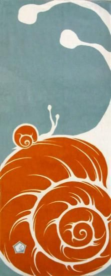 Shop miscellaneous hand-dyed towel [Mitsutorihitogi - Snail (red water)