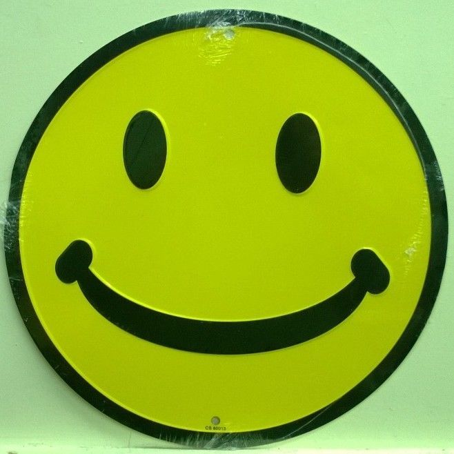 """SMILEY FACE 12"""" metal sign standard yellow smiley emoji happy face"""